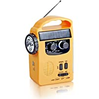 Semlos Solar Dynamo Emergency Radio Hand Crank AM/FM Radio with LED Flashlight and 500mAh Power Bank