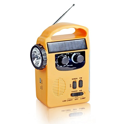 (Semlos Solar Dynamo Emergency Radio Hand Crank AM/FM Radio with LED Flashlight and 500mAh Power)