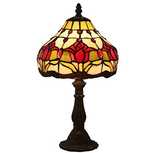 WFTD Table Lamp Tiffany Style Bedside Lamp Handmade 8 Inch Lamps Tulip Pattern E27/ E26 Bulb Zinc Alloy Base Small Retro Glass Desk Lamp ()