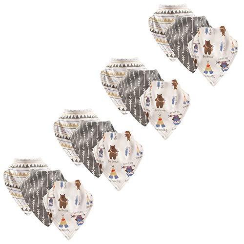 Luvable Friends Baby Basic Cotton Bandana Bib Set, Tribe 12 Pack, One Size