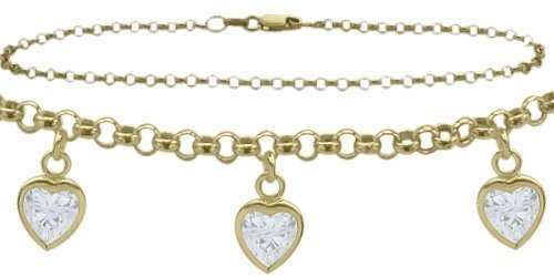 10K 10'' White Gold Belcher Style 0.85tcw. White Topaz Heart Charm Anklet by Elite Jewels