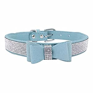 Sunward Dog Collar, Diamond Bow Tie Crystal Rhinestone Pet Collar Designer Girl Boy Dog Collars (Sky Blue, XXS)