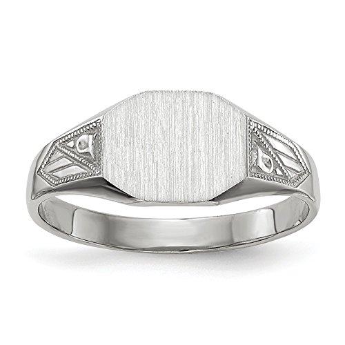 - 14K White Gold Signet Ring