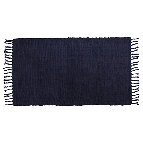 Accent Throw Rug (OJIA Cotton Reversible Rag Rug Hand Woven Single Color Chindi Area Rug Entryway For Laundry Room Kitchen Bathroom Bedroom Dorm (2' x 3', Dark Blue))