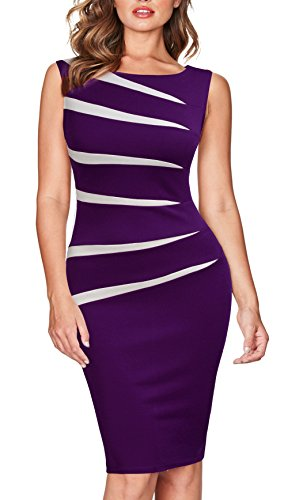 FORTRIC Women Slim Stitching Bodycon Business Wear to Work Party Pencil Dress (Large, Purple(Sleeveless))