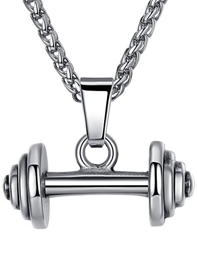 Aoiy Men's Stainless Steel Weightlifting Barbell Pendant Necklace, 24