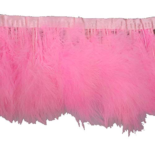 Boa Pink Trim Feather - KOLIGHT Pack of 2 Yards Natural Turkey Marabou Feather Trim Fringe 6-8 Inch in Width DIY Decoration (Pink)