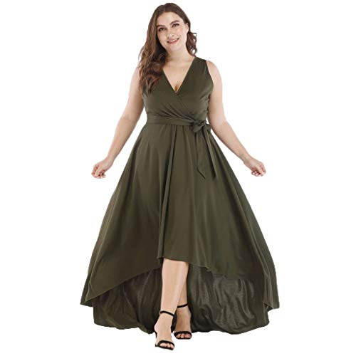 Witspace Summer Womens Fashion Casual Solid V-Neck Asymmetrical Party Dress