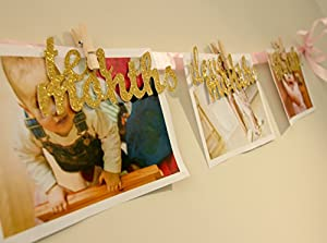 First Birthday Photo Garland 12 Month Photo Banner Photo Booth Props Premium Quality Gold Glitter Birthday Party Decorations! Fast US Deliver Fulfilled by Amazon! by Soccerene