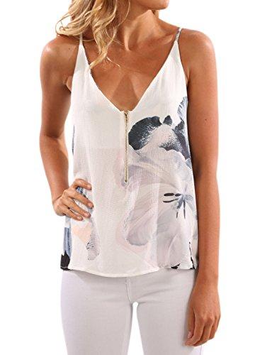 WLLW Women Spaghetti Strap Front Zipper Floral Print Shirt Tops Tanks Camis