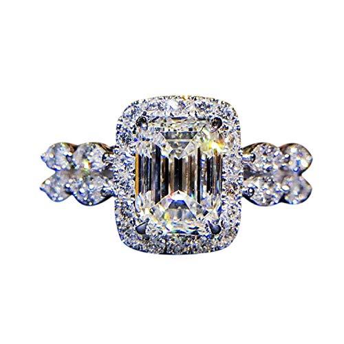 (nanzhushangmao Women's 18K Rose/White Gold Plated CZ Diamond Engagement Rings Best Promise Rings Anniversary Wedding)