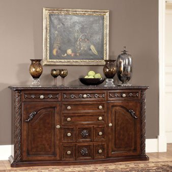 "Ashley North Shore D553-60 70"" Dining Room Server with Decorative Pilasters Ornately Detailed Appliques and Adjustable Shelved"