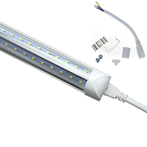 LEDs Tube Light, 8FT 72W (150W Fluorescent Equivalent), Double Side V Shape Integrated Bulb Lamp, Works without T8 Ballast, Plug and Play, Clear Lens Cover, Cold White 6000K - Pack of 25 Units by Jomitop (Image #8)