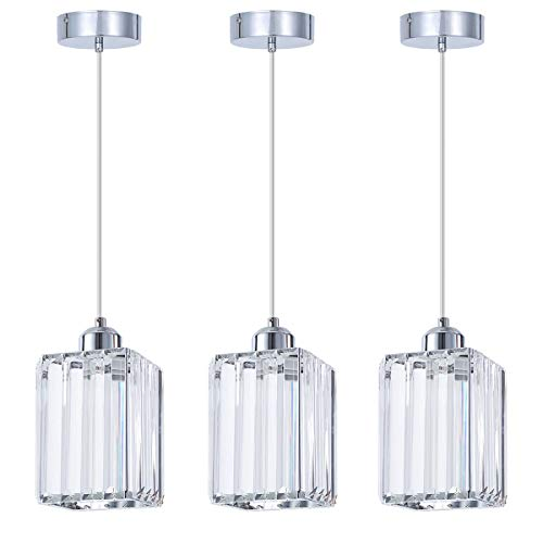 - ShengQing Mini Crystal Pendant Light in Chrome Finish with Clear Crystal Shape, Modern 1-Light Square Crystal Kitchen Pendant Lighting Fixture for Kitchen Counter Dining Room Bedroom Bar Cafe, 3 Pack