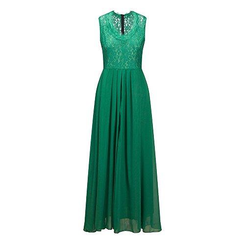 Beauty7 V-Cuello Vestido Sin Mangas Encaje Hueco Gasa Aterrizaje Mono Vestido Largo Vestidos de Fiestas Coctel Ceremonios Noches Negro Azul Marino Verde Vestido Verano Primavera Verde