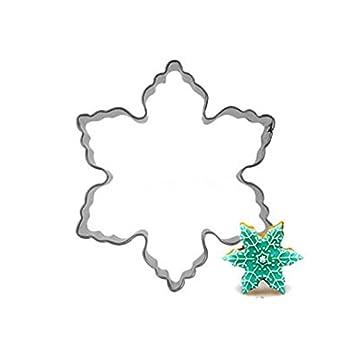 fairyteller copo de nieve adorno navideño para galletas herramientas cortador molde para repostería molde para galletas de sello molde decoración de ...