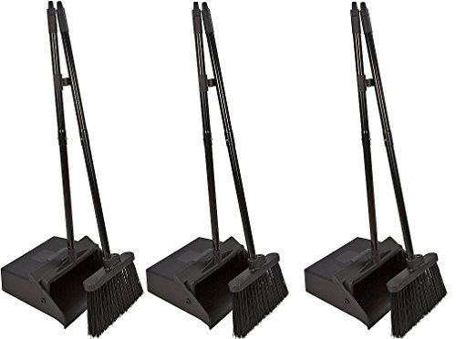 Carlisle 36141503 Duo-Pan Dustpan & Lobby Broom Combo, 3 Foot Overall Height, Black (3 DUSTPAN COMBOS) by Carlisle