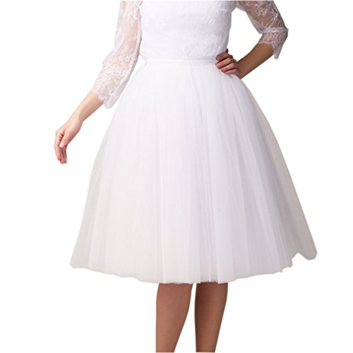 (Lisong Women Tea Length 5-Layered Tulle A-line Tutu Party Prom Skirt 10 US White )