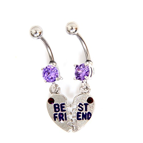 BFF Best Friend Created White Sapphire 316L Surgical Steel Navel Ring Belly Button Ring