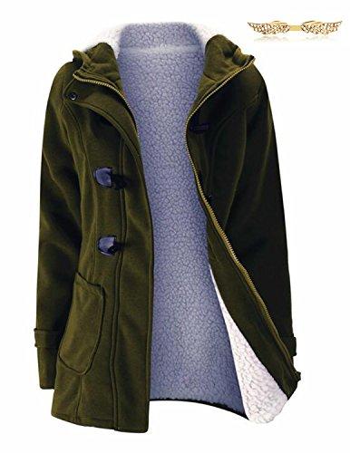 BYD Mujeres Hoodie Chaquetas Sudaderas con Capucha Encapuchada Abrigo con Horn Botones Jacket Cardigans Tops Verde además de terciopelo