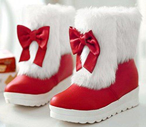 Red Tå Ankel Kvinners Mid Pels Easemax Boots Buer Fluffy Rund Hæl Kile På Trendy Trekke U8wn7qx46n