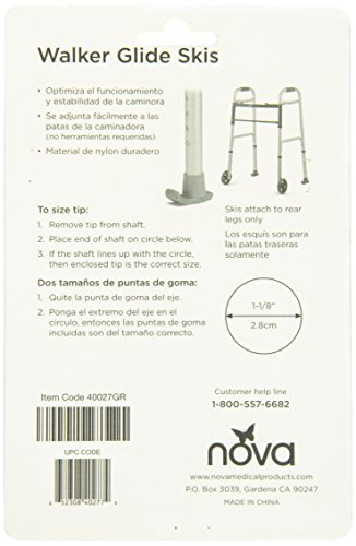 NOVA Medical Products Walker Glide Skis, Gray