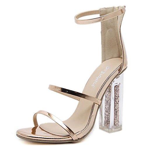 EU39 della donna CN39 Estate oro Chunky tacco US8 sandali Casual per pompa Primavera Scarpe Comfort base pu l'oro ZHZNVX UK6 CSXpTqwT