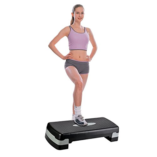 Anfan Adjustable Workout aerobic stepper, Step Platform For Sports & Fitness, Indoors Outdoors Trainer With 2 Additional Risers (US Stock)