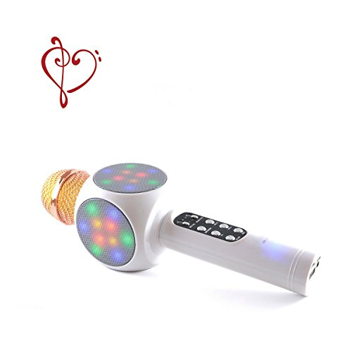 Wireless Microphone Karaoke 2018 Bluetooth Portable Disco Light LED Loud Speaker Instant Pairing Singing Machine For Kids Most Apps Compatible Apple iPhone Android PC White