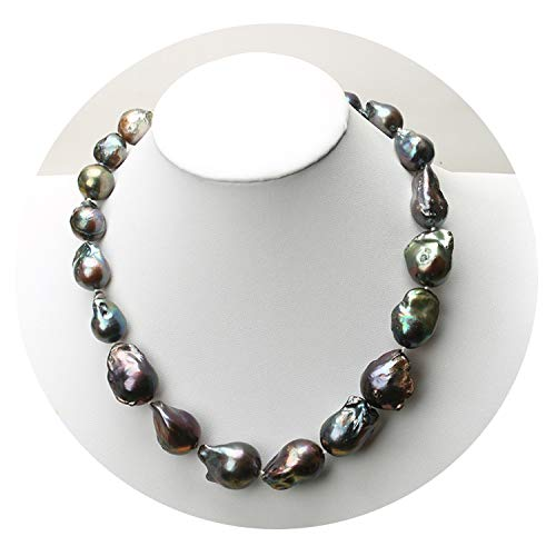 - Natural Freshwater Baroque Pearl Necklace deep Blue Peacock Green Black Pearl Chain Choker Long Necklace AA