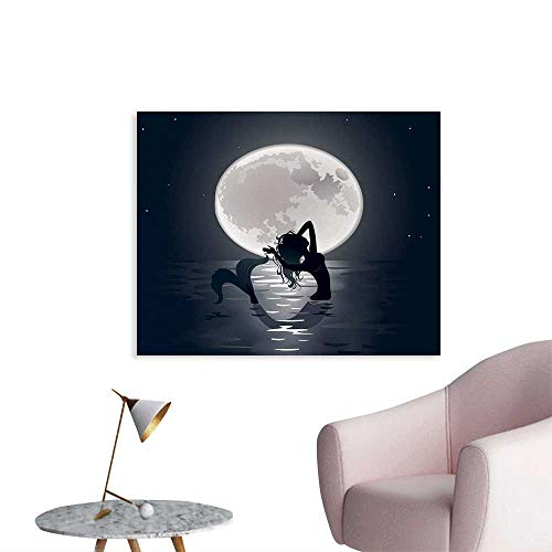 Tudouhoho Underwater Poster Paper Mermaid Singing at Night Silhouette Full Moon Lights Mythical Ornament Print Wallpaper Black Grey W36 xL32