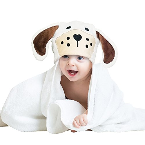 Bamboo Hooded Bath Towel with Cute Detailed Puppy Character. Extra Large For Baby, Infant, Toddler, Small Children. Thick Absorbent 500 GSM. Light Weight, Machine Wash with BONUS Wash Cloth Included by Everar
