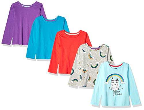 Amazon Brand - Spotted Zebra Girls' Kid 5-Pack Long-Sleeve T-Shirts, Peace and Rainbows, XX-Large (14)