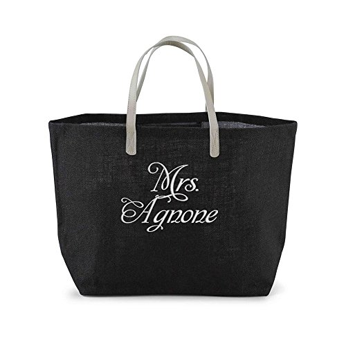 [Personalized Mrs. Jute Tote Bag - Black] (Bridal Embroidered Tote)