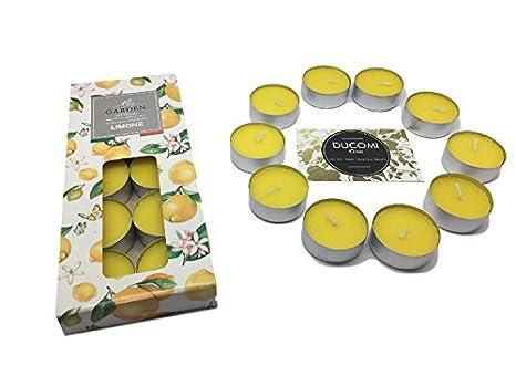ducomi® adessence–Duftkerzen und bunt–Teelichter ideal für Partys und Dekorationen–schafft die Atmosphäre, Geist und das Gleichgewicht 10 Lumini Limone