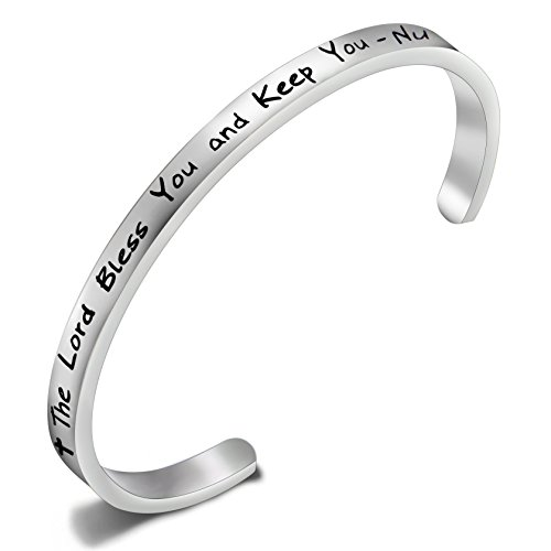 Opening Bible Charm (FEELMEM The Lord Bless You and Keep You Numbers 6:24 Charm Bracelet Love Knot Bangle Cuff,Bible Verse Christian Bracelet Religious Jewelry (Silver Cuff))