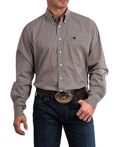 Cinch Men's Geo Print Long Sleeve Western Shirt Brown Large