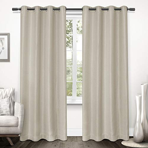 Exclusive Home Curtains Tweed Textured Linen Blackout Window Curtain Panel Pair with Grommet Top, 52x96, Natural, 2 -