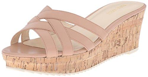 Nine West Women's Caserta Leather Platform Sandal, Black, 5 M US Natural Leather