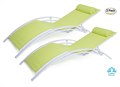 legant Patio Reclining Adjustable Chaise Lounge Aluminum and Textilene Sunbathing Chair for All Weather with headrest (2 pack), KD,very light, very comfortable … (Mesh Patio Recliner)
