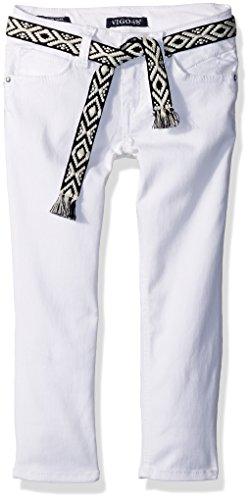 Belted Crop Jeans - VIGOSS Girls' Belted Bartack Crops, White, 14