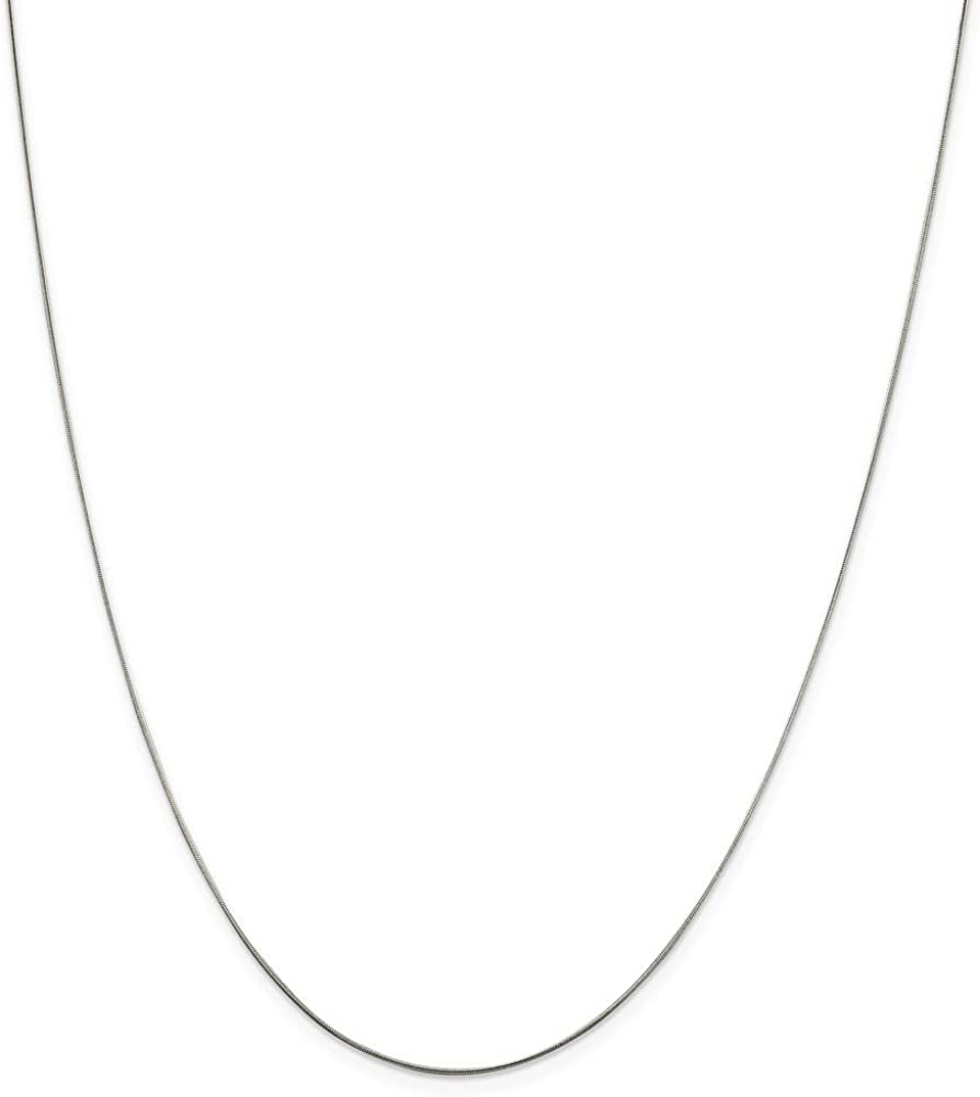 Solid 925 Sterling Silver .7mm Round Snake Chain Necklace with Secure Lobster Lock Clasp