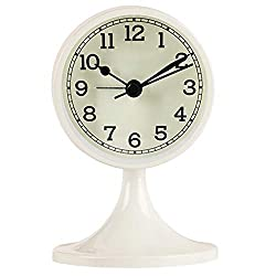 Danse Jupe Alarm Clock Round Vintage Non Ticking Battery Operated for Bedroom,Off-White