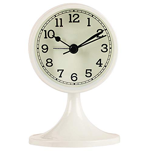 Queena Retro Round Silent Alarm Clock Non-Ticking Battery Operated Desk Clock for Bedroom Office White