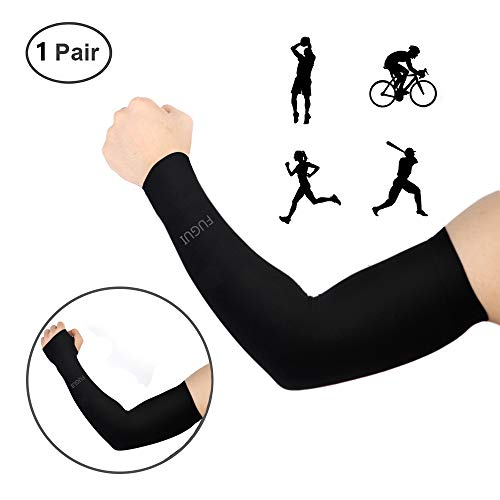 Amplest Arm Sleeves UV Cooling Breathable Sleeves Arm Cover Sun Protection for Men Women,Black and White (Black Without Cuff)