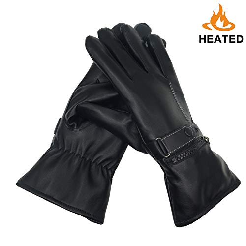 Piti Battery Heated Gloves for Men Women Rechargeable Li-ion Thermal Warming Electric Gloves Waterproof for Driving Cycling Hunting Winter Hand Warmer (Black-.Gloves for Women)