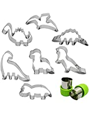 Dinosaur Cookie Cutter Set 7 Pcs - Stegosaurus/Dinosaur Baby/T-Rex/Leaellynasaura/Triceratops Mould, AFUNTA Stainless Steel Cookie Mold for Kids' Birthday Party