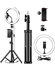 Rehomy 10 Ring Light, Dimmable LED SMD Lighting Ringlight with Tripod Stand & Phone Tablet Clip, Ideal for Video Shooting, Live Stream, Photography, Portrait, Makeup, Selfie
