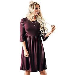 Naomi Ruffled Sleeve Modest Dress In Burgundy Plum