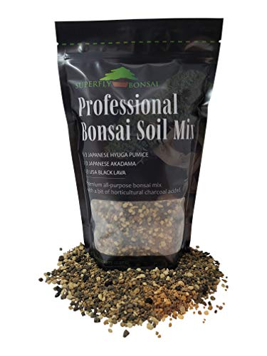 "Bonsai Soil Mix - Premium Professional, All Purpose, Sifted and Ready to Use Tree Potting Blend in Easy Zip Bag - Akadama, Black Lava, Pumice & Charcoal -""Boons Mix"" (1.25 Dry Quart) (1.25 Quart)"